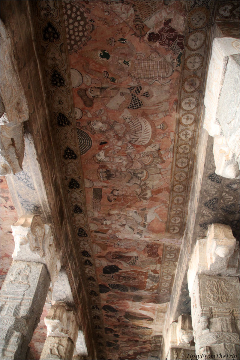 Ancient Indian murals at Lepakshi.