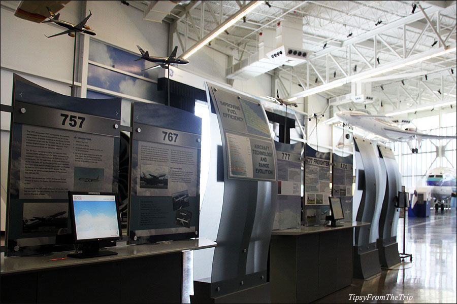 Boeing information boards at Future of Flight Aviation Center, WA