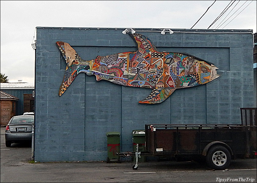 Fish-shaped mural in Mill Valley, California.