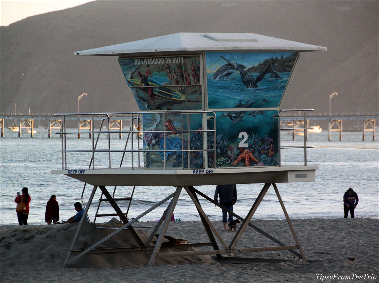lifeguard tower art on Avila Beach in California's Central Coast