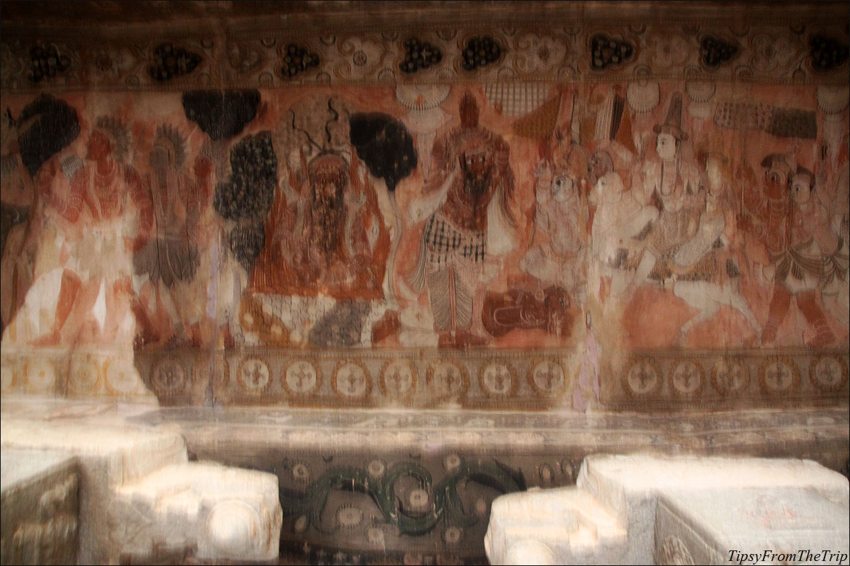 An ancient Indian mural at Lepakshi,
