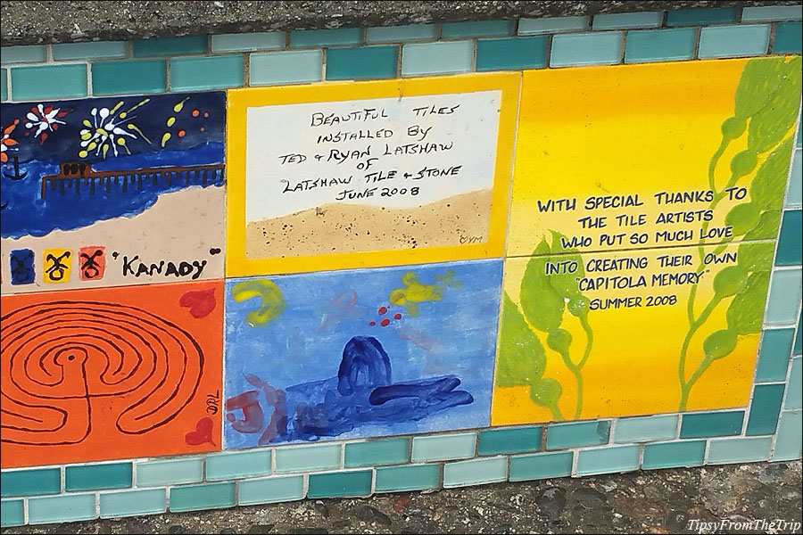 Tile art on seawall, Capitola, CA - a community art project