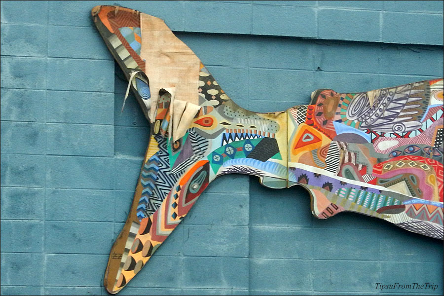 The tail of the fish-shaped mural, Mill Valley, CA